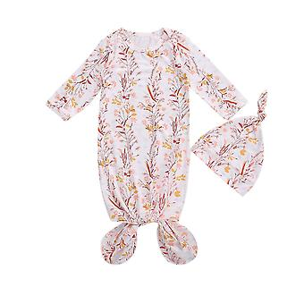 0-6 Month Newborn Baby Sleeping Bag Floral Printing Long-sleeves One-pieces + Cute Hat Set For Toddler Boys Girls Bedding