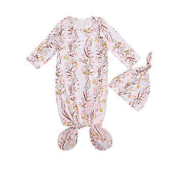 新生児の寝袋 - 花柄長袖かわいい帽子セット