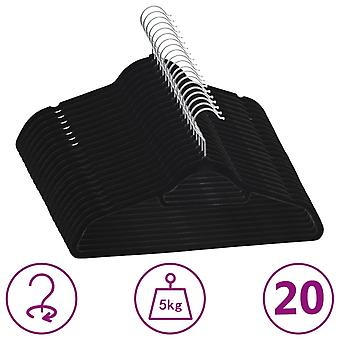 vidaXL 20 pcs. hanger set anti-slip black velvet