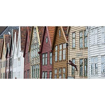 Colourful Houses In A Row Bergen Norway PosterPrint