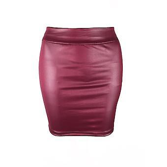 Dámské vysoké pasu mokré vzhled umělé kožené tužky mini sukně