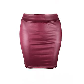Womens High Waist Wet Look Faux Leather Pencil Mini Skirt