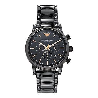 Armani Ar1509 Rose Gold & Black Ceramic Chronograph Men's Watch