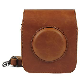 Full Body Camera PU Leather Case Bag with Strap for Fujifilm Instax Square SQ20(Brown)