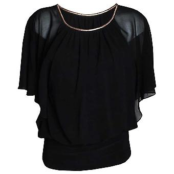 Michaela Louisa Black Chiffon Overlay Top With Flowing Cape Sleeves