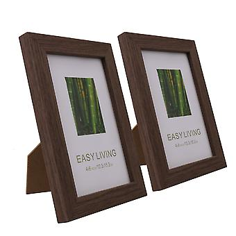Solid Wood And Plexiglass Picture Frames Black Oak Color 4Inchx6Inch Pack of 2