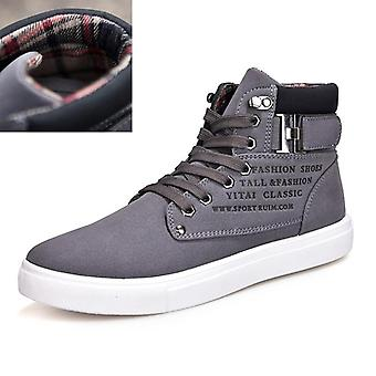Autumn Winter Men Boots Big Size Fashion Fur Lace-up Warm Leather Boots