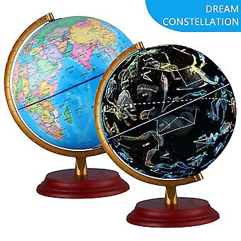 Illuminated world globe with wooden base night view stars constellation pattern globe lamp for kids