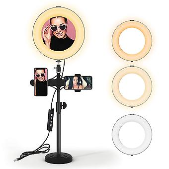 "Led ring light kit 8"" with tripod stand & phone holder, dimmable desk make up ring light with 3 ligh"