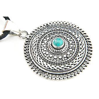 Medaglione a catena medaglione argento placcato argento turchese blu verde (922-04-023-15)