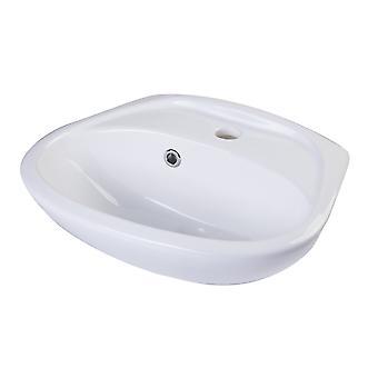 Alfi marca Ab106 blanco pequeña porcelana pared montaje cuenca con desbordamiento