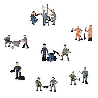 25pcs Miniature People Model Worker Figurines For Train Diorama Scenery