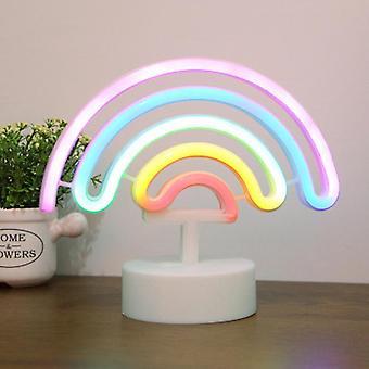 Neon Light Sign Rainbow Makuuhuone Seinävalaisin Led Usb Akkukäyttöinen Markiisi