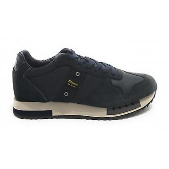 Shoes Blauer Sneaker Running Mod. Queens In Suede/ Men's Navy Blue Fabric U21bu02