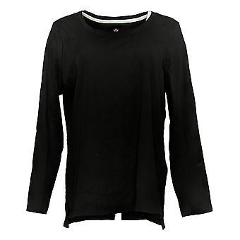 Isaac Mizrahi Live! Women's Top Essentials Hi-Low Hem Knit Black A389762