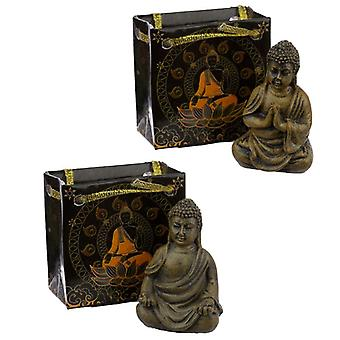 Mini estatueta de buda tailandesa em uma bolsa de presente 2 fornecida