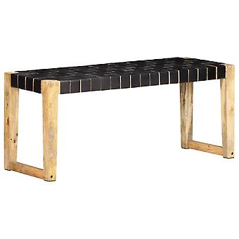 Bench 110 Cm Black Real Leather And Solid Mango Wood