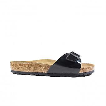 Birkenstock Madrid Black Patent Nubuck Womens Slip On Mule Sandals