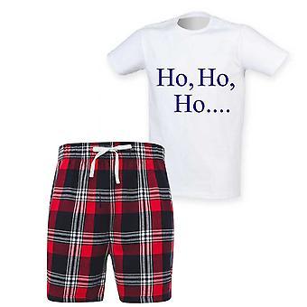 Herre Ho Ho Ho Jul Tartan Kort Pyjamas Sæt