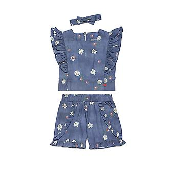 Alouette Girls' Set Of Blouse And Shorts With Pattern And Ribbon