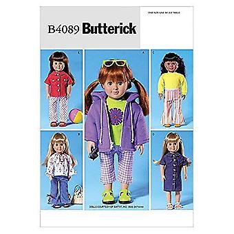 """Butterick helppo ompelu kuvio 4089 18"""" Nukke Vaatteet Housut Mekko Takki"""