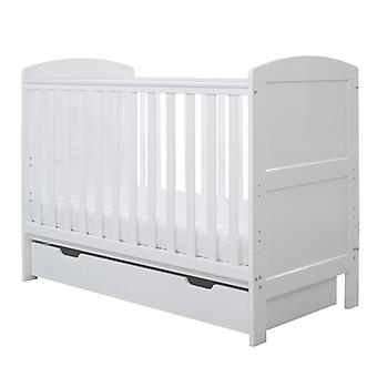 Ickle Bubba Coleby Mini Cot Bed, Under Drawer and Foam Mattress - White