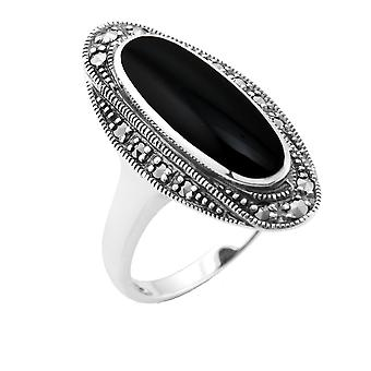 Sterling Silver 1,30 ct svart Onyx & 0.23ct Markasit Art Deco Cocktail Ring