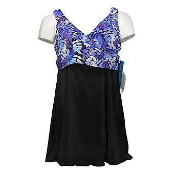 Fit 4 U Swimsuit Wrap Swim Dress Purple / Black A376261