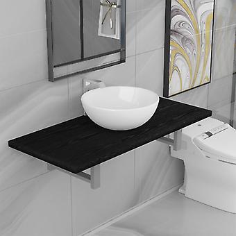 vidaXL 2-pcs. Bathroom furniture set ceramic black