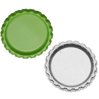Final Sale - New Green Apple Flat Crown Bottle Caps Craft Scrapbook Jewelry No Liners (50)
