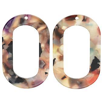 Pendentif acétate Zola Elements, Donut ovale Garden Party 27x44mm, 2 pièces, multicolores