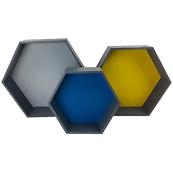 Ensemble de 3 étagères hexagonales en bois