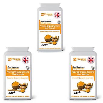 Pack of 3 - Organic Turmeric with Black Pepper 600mg | Suitable For Vegetarians & Vegans by Prowise