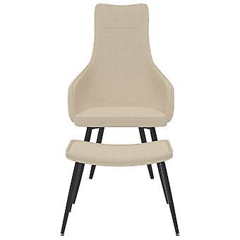 vidaXL fauteuil met voetenbank crème stof