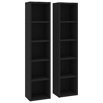 vidaXL CD shelves 2 pcs. black 21x16x93.5 cm chipboard