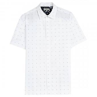 Ted Baker Rollak Clean Dobby Wit Shirt met korte mouwen