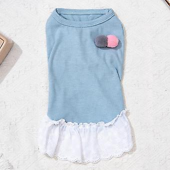 Pet clothes solid color lace skirt with cute fur ball