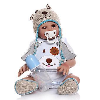 48Cm bebe baba újjászületett kisfiú baba kék ruhában teljes test puha szilikon reális baba fürdő játék anatómiailag helyes