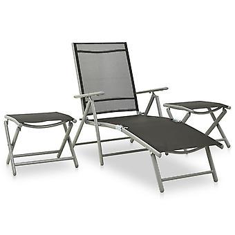 vidaXL 3 pcs. Garden Lounge Set Textilene and Aluminium Silver