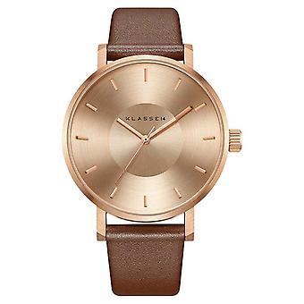 Klasse14 Volare 42mm Rose-Gold Brown Leather Strap VO14RG002M Watch