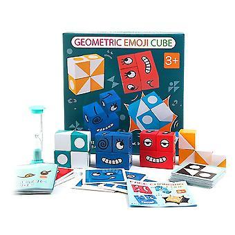 Barn träuttryck förbryllade magiska kubbyggnadsblock Montessori pedagogisk leksaker logik