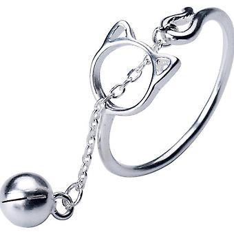 ציפוי כסף יצירתי חמוד חתול טבעות לנשים זוג חתונה זוג תכשיטים אופנתיים יום האהבה