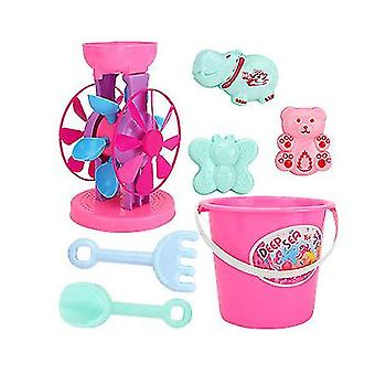 Double Sand Wheel Beach Toy Set For Kids With Bucket,shovels, Rakes(GROUP1)