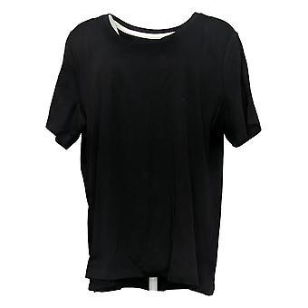 Isaac Mizrahi Live! Women's Top Cotton Scoop Neck T-Shirt Black A379429