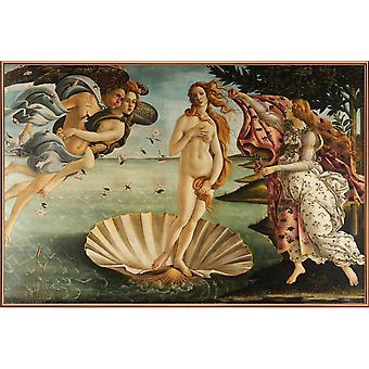 JUNIQE Print - Botticelli - The Birth of Venus - Classic Art Poster in Colorful & Cream White