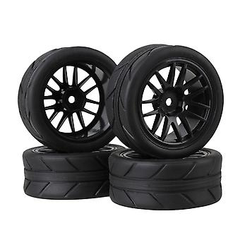 Remote control toy accessories 4xblack 14-spoke plastic wheel rims +black arrow pattern rubber tyres for rc1:10