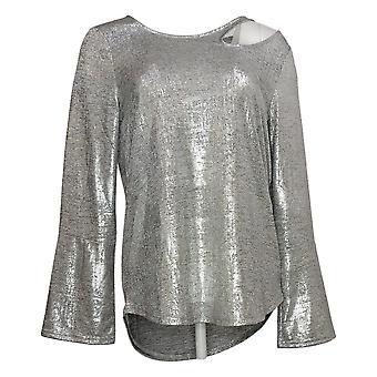 Skinnygirl Women's Top Foiled Jersey Cutout Silver 681081