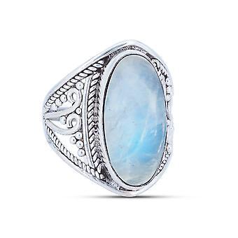 Pierścień Srebrny 925 Sterling Silver Rainbow Moonstone Biały Kamień (Nr: MRI 83)