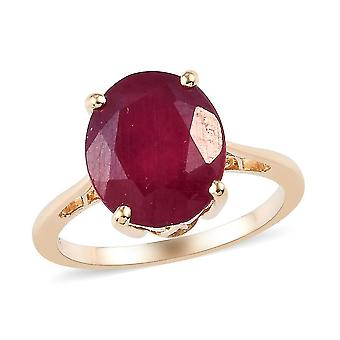 TJC Ruby Engagement Solitaire Ring for Women 9K Yellow Gold 6.85ct