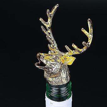 Scandinavische stijl zinklegering dierlijke thema wijn stop en pourer (Golden Deer Head)